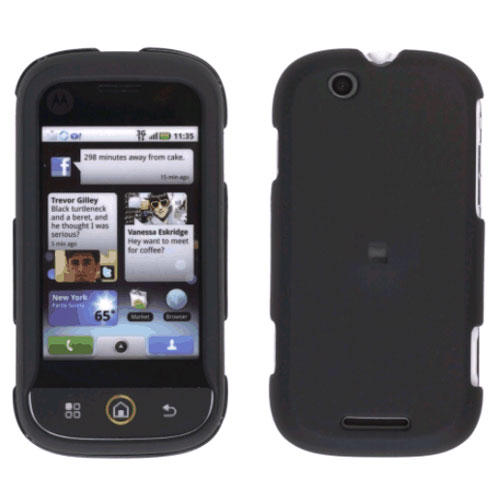(Front/Back) Rubberized Snap-On Case for Motorola Cliq (Black)