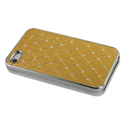 Reiko - Diamond Leather Protector Cover for Apple iPhone 4/4S - Quilt Gold