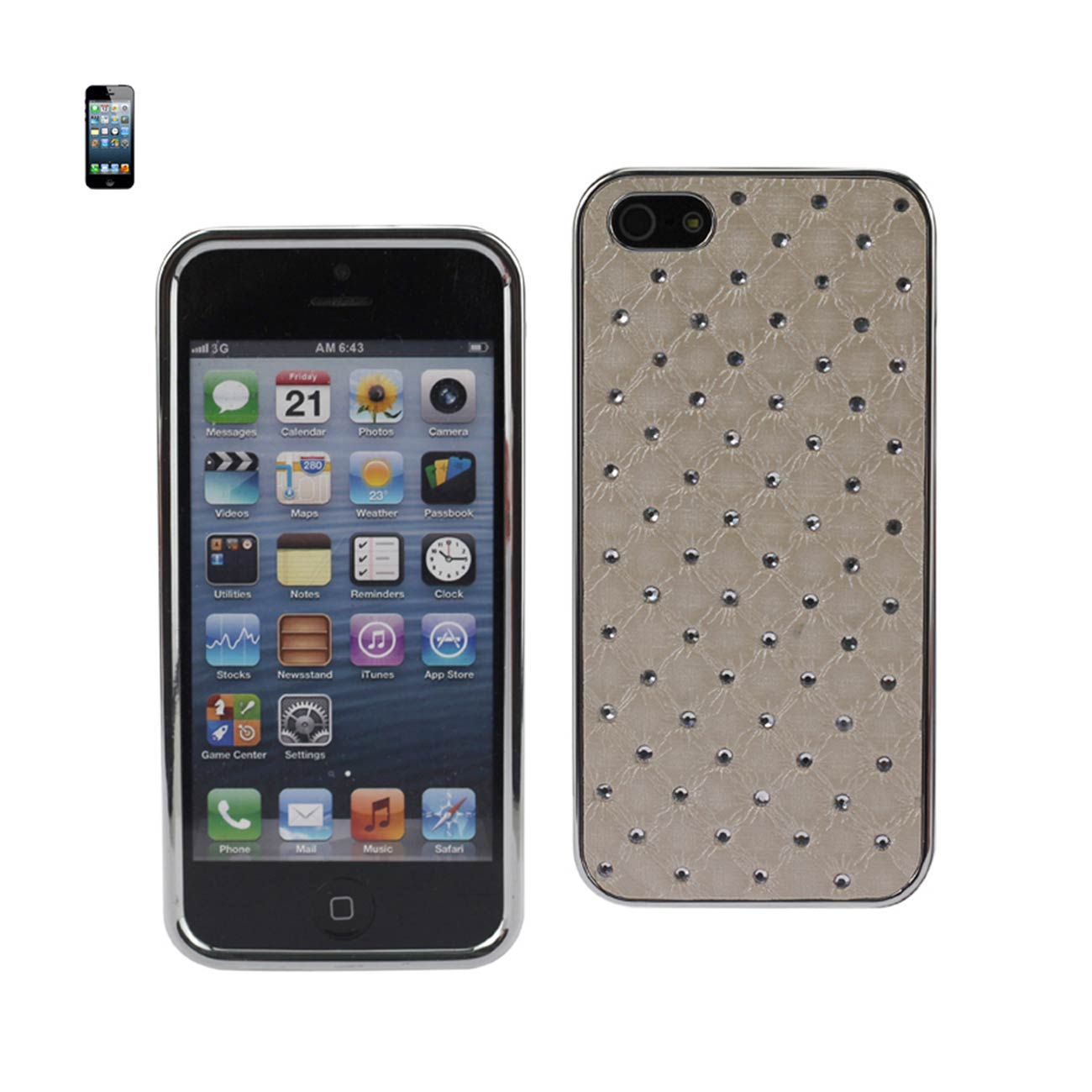 Reiko - Diamond Leather Protector Cover for Apple iPhone 5 - Quilt Beige
