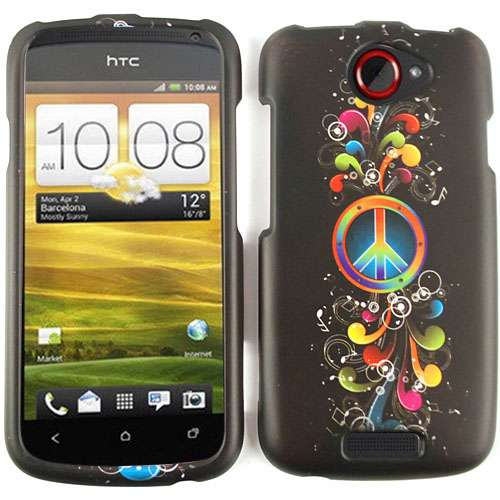 Snap-On Protector Case for HTC One S (Rainbow Peace Symbol and Music Notes on Black)