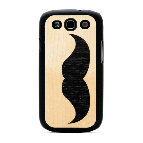 Carved - Handlebar Mustache Inlaid Wood Case for Samsung Galaxy S3 - Matte Black