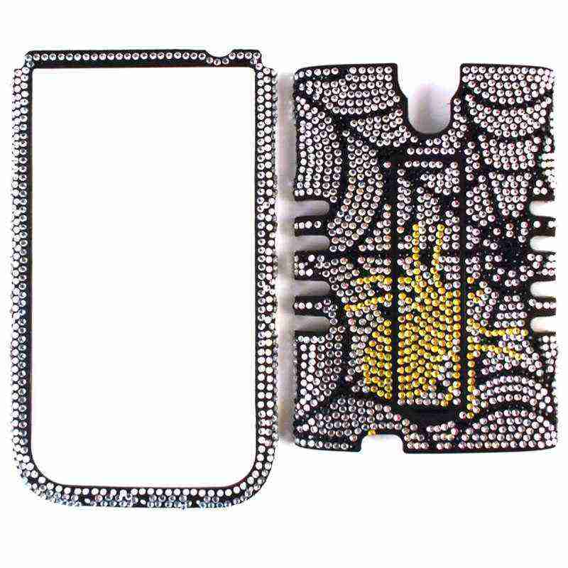 Unlimited Cellular Rocker Snap-On Case for Samsung Galaxy S4 (Full Diamond Crystal Yellow Spider on Web)