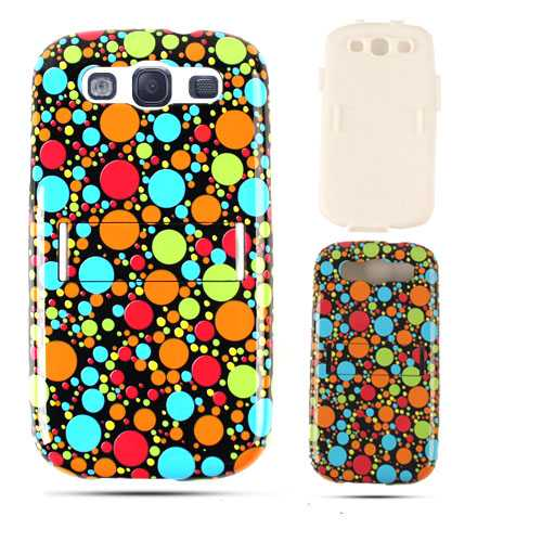 Unlimited Cellular Hybrid Fit On Jelly Case for Samsung Galaxy S3 (Multi-Color Dots on Black)