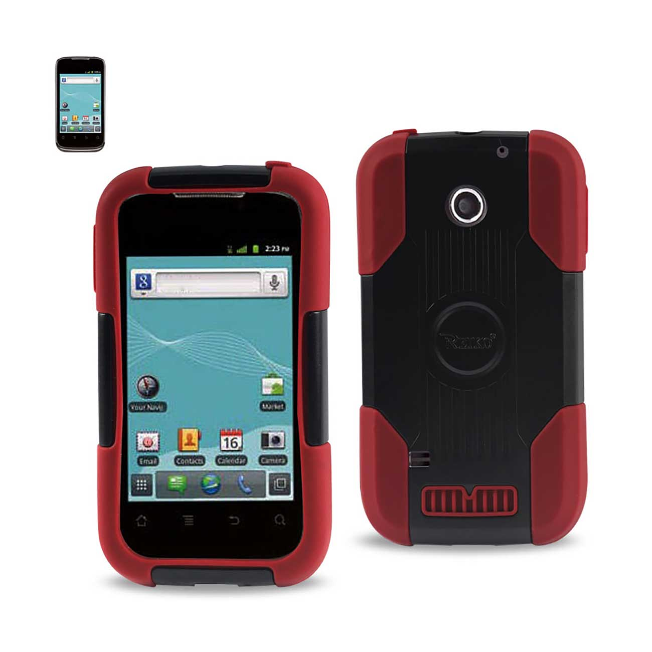 Reiko Hybrid Heavy Duty Silicone Case For Huawei Ascend 2 - Black/Red