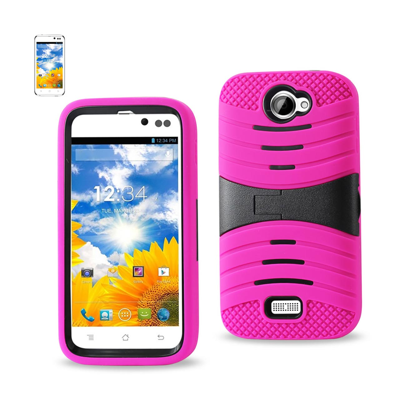 Reiko - Silicone Case Plus Protector Cover for BLU Advance 4.50 A310A, A310I - Hot Pink/Black