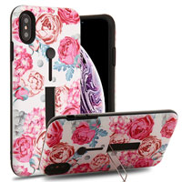 Victorian Flower/Black Finger Grip Hybrid Protector Cover (with Silicone Strap & Metal Stand)