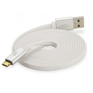 SCOSCHE FLATOUT LED EZTIP REVERSIBLE MICRO USB 72 INCH DATA/SYNC/CHARGE CABLE - WHITE