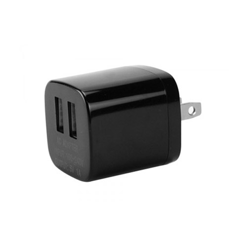 Cellet High Powered Universal Travel Charger Adapter with Dual 1A USB Ports (Black)
