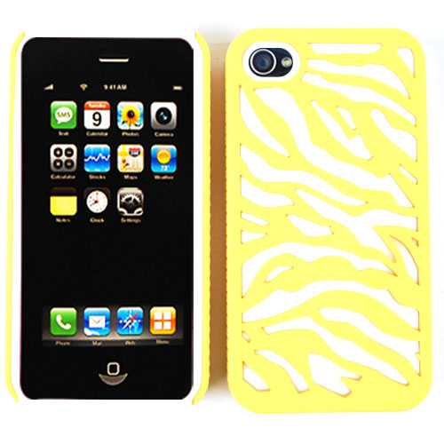 Unlimited Cellular Novelty Case for Apple iPhone 4/4S (Yellow Zebra on White)
