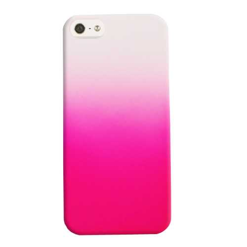 Unlimited Cellular Hybrid Fit On Case for Apple iPhone 5 / 5S (Leather Finish Two Tone White and Hot Pink)