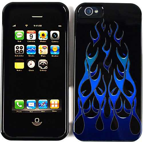 Unlimited Cellular Snap-On Protector Case for Apple iPhone 5 / 5S (Blue/Green Wild Flame)