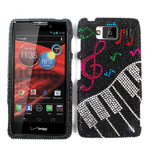Unlimited Cellular Full Diamond Crystal Cover for Motorola XT926 Droid Maxx HD (Music Notes and Keyboard)