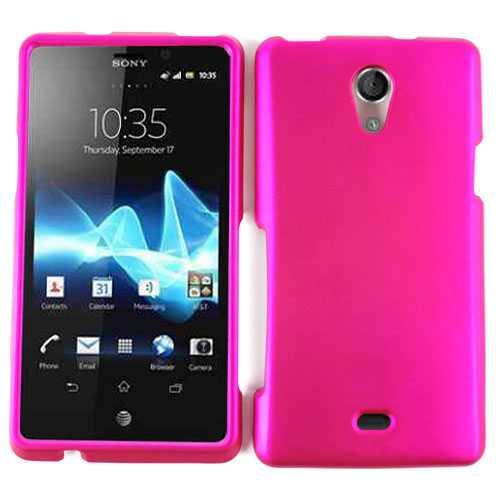 Unlimited Cellular Snap-On Case for Sony Xperia TL - Honey Hot Pink, Leather Finish