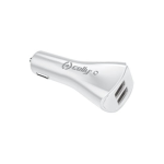 Celly Universal Car Charger with Two USB Ports - White