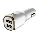 Monster Car Charger MAX 2 w/Dual USB White/Gold
