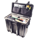 Pelican Products Top Loader case  BLK  office divider and lid org.