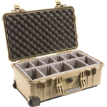 Pelican Products Case w/Padded Dividers TAN 20 3/16 x 1 3/8 x 7 1/2