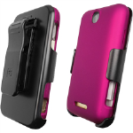 Beyond 3-In-1 Shield and Holster Set for ZTE X500 Score/X500 Score M - Rose Pink