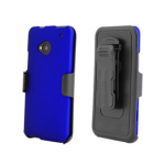 Beyond Cell Kombo Protex Rubber Case and Holster with Screen Protector for HTC One / M7 (Blue)