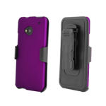 Beyond Cell Kombo Protex Rubber Case and Holster with Screen Protector for HTC One M7 (Purple)