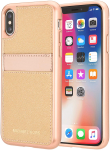 Original Michael Kors Saffiano Leather Pocket Case for iPhone X/XS - Rose Gold/Ballet