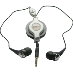 ZipKord Retractable Stereo Headset with Replaceable Earbuds