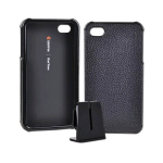 Griffin Leather Wrapped Snap On Case FOR iPhone 4 - Black (Bulk Packaging)