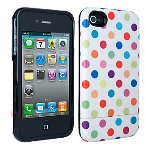 Verizon Broodie Hard Cover Case for iPhone 4/4S (MultiColor Polka Dot) (Bulk Packaging)