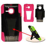Unlimited Cellular Hybrid Fit Jelly Case for Alcatel One Touch Evolve - Magenta Skin and Black with Stand