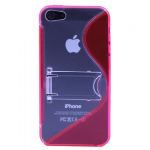 APPLE IPHONE 5/5S/SE TEKYA TPU SHIELD WITH KICKSTAND - HOT PINK/CLEAR