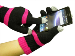 Boss Tech Knit Touchscreen Gloves, Texting Gloves, Tech Gloves (Black/Pink)