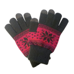 Boss Tech Knit Touchscreen Gloves with Conductive Fingertips for All Touchscreen Devices (Pink/Gray Snowflake)