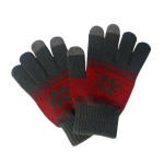 Boss Tech Knit Touchscreen Gloves with Conductive Fingertips for All Touchscreen Devices (Red/Gray Snowflake)