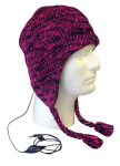 Boss Tech Aviator Style Knit Hat with Earflaps and Built-In Stereo Headset (Pink/Black)