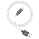 Ventev Flat Tangle-Resistant Lightning Charge/Sync Data Cable for iPhone 8 - White