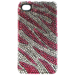 Crystal Icing Select Case Cover for Apple iPhone 4/4S  (Pink Zebra Crystal) - CI1003-Z