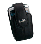 Leather Holster with Magnetic Clasp/Clip-On Wristlet for BlackBerry Curve 8330 (Black)