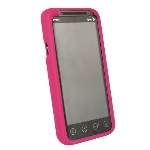 Sprint Branded HTC Evo 3D Protective Cover Silicone Rubber Gel Skin Case - Raspberry Pink