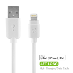 CELLET APPLE LIGHTNING 8 PIN TO USB CHARGE + SYNC CABLE (4 FT LENGTH) - WHITE