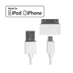 CELLET MICRO USB DATA CABLE WITH APPLE 30 PIN MICRO RECEPTOR - 4 FT - APPLE CERTIFIED - WHITE - RETAIL PACKAGED