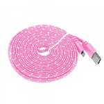 9ft -Noodle Rope Braided Rope Style USB Data Cable To Apple Lightning Cable - Pink