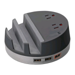 Ventev Desktop Charging Hub s500 w 4.4A, 2 AC Outlets & 3 USB Ports for All USB Devices (Black) - DESKHUBVNV