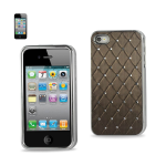 Reiko - Diamond Leather Protector for Cover Apple iPhone4/4S - Quilt Grey