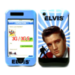 Elvis Presley Snap-On Case with Elvis Face & Silhouette for Apple iPhone 3G - Blue