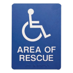 Talk-A-Phone Self-Adhesive ADA Braille Area of Rescue Sign - ETP-SIGN
