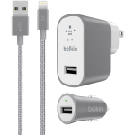 Belkin Car&Wall Charger Combo  2.4A w/Lightning Cable Gray