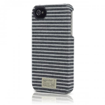 August Accessories HX1138-BLKGRY Hex Core Canvas Case for iPhone 4/4s