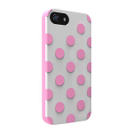 Technocel Dual Protection Case for Apple iPhone 5 / 5S /5SE - Polka Dots White/Pink