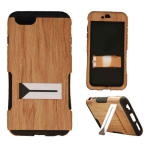 Hopper Protector Case for Apple iPhone 6 Plus (Light Wood Patern Snap and Black Skin)