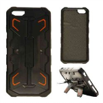 2-in-1 Hybrid Protector Case for Apple iPhone 6 Plus (Black/Orange with Stand)